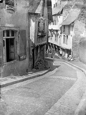 DINAN Street View With Shops Antique Photographic Glass Negative (France)