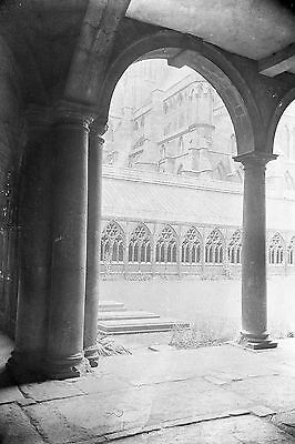 1910s LINCOLN CATHEDRAL #2 Antique Photographic Glass Negative (Cloister)
