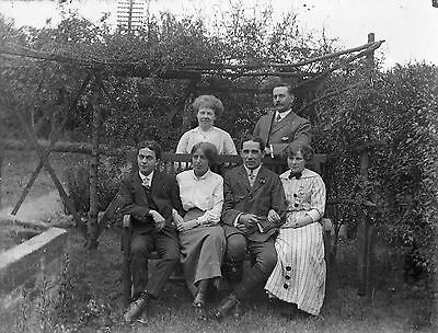 GROUP OF PEOPLE Antique Photographic Glass Negative (1910s)
