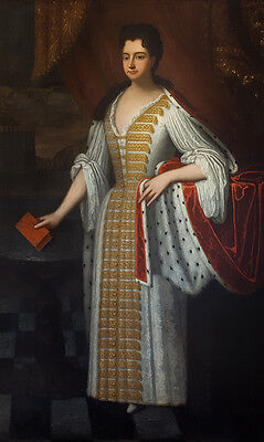 Huge 18th Century English Portrait of Queen Anne Princess Antique Oil Painting