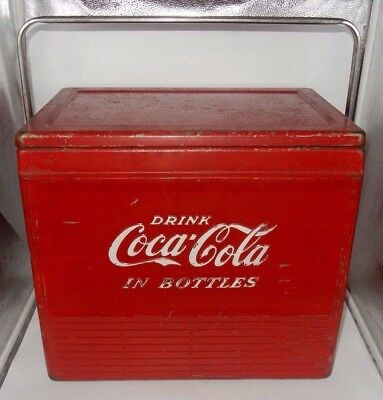 1950's VINTAGE AUTHETIC RED COCA COLA GALVANIZED COOLER w/ SANDWICH TRAY