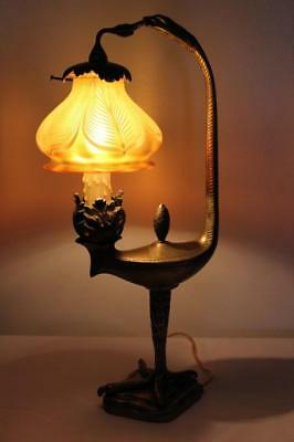 Quezal Pulled Feather Art Glass Shade Lamp With Bronze Eagle Base