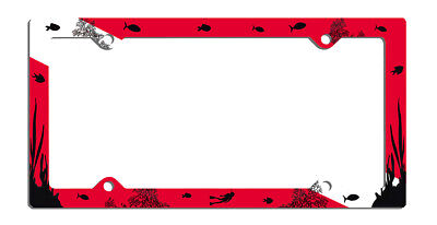 """Scuba Dive Flag License Plate Metal Frame Male Female Divers Fits 6"""" x 12"""" Plate"""