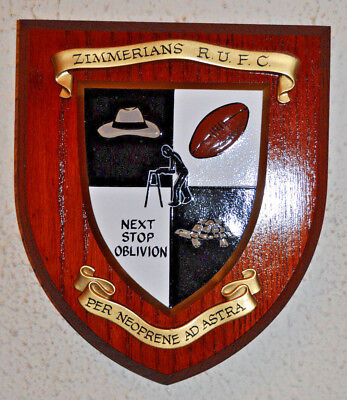 Zimmerians Rugby Union Football Club plaque shield crest coat of arms RUFC RFC