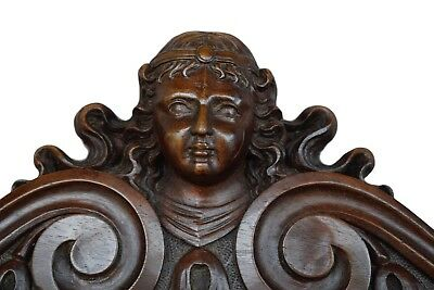 French Antique 19th Carved Wood Pediment Door Cornice - Lion & Woman Head