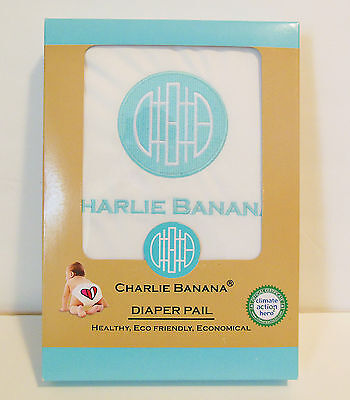 NEW Charlie Banana Designer Diaper Pail White Reusable Washable FREE SHIPPING