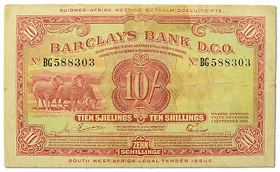 SOUTH WEST AFRICA 10 SHILLING 1956 BARCLAYS BANK P-4a BEAUTIFUL SCARCE BANKNOTE