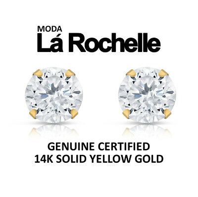 14K Solid Yellow / White Gold Round Cut CZ Stud Earrings