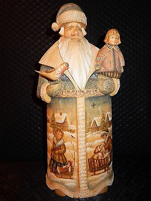 Large Hand Carved And Painted Russian Santa Art By G. De Brekht