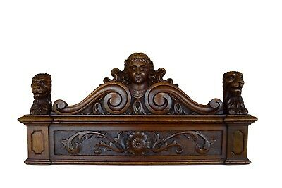 French Antique 19th Carved Wood Pediment Door Cornice - Lion & Woman Head n2
