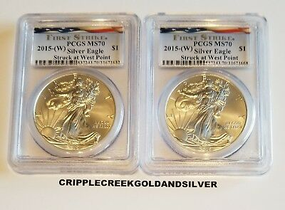 2015(W) Silver Eagle Struck at West Point First Strike PCGS MS70(Lot of 2) FLAG