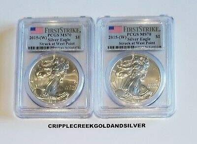2015(W) Silver Eagle Struck at West Point First Strike - PCGS MS70 (Lot of 2)