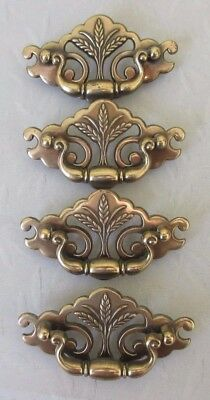 Lot of 4 Vintage Brass? Metal Drawer Pulls Cabinet Dresser Door Handles w Screws