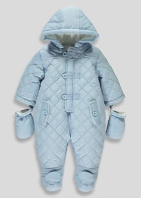 Baby Boy 0-3 Months Blue Snowsuit With Mitts Winter Blue BNWT FREE P&P