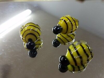 3 Tiny glass figurine Bumbble Bee  Yellow and  Black  Glass Murano Miniature