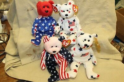 "LOT OF 4 TY BEANIE BABY Babies ""LIBERTY, 2 GLORY, & SPANGLE (PINK HEAD)"""