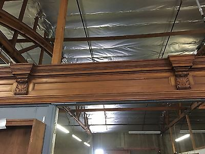American Antique Carved Mahogany Library Detail Over Door Very Large