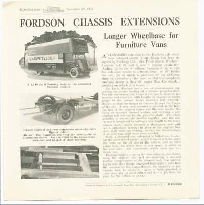 Fordson Chassis Extensions. Furlongs, Woolwich Reprint