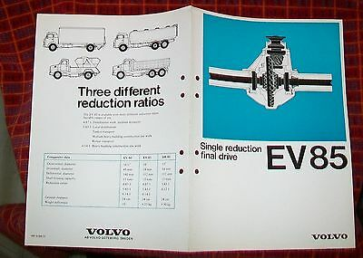 Volvo Single Reduction Ev85 Specification 1974