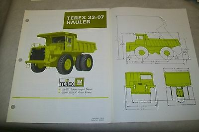 Terex 33-07 Hauler Specification Sheet. January 1976.