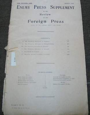 Enemy Press Supplement Of Foreign Press. March 6 1919