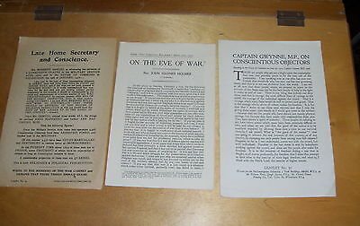 Conscientious Objectors And Conscription Leaflets + Usa Into War 1916/17 (3)