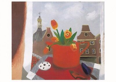 New Postcard of Red Tulips in red jug, Haarlem (1954) By Winifred Nicholson