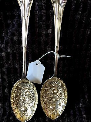 Super Antique Pair Of Silver Plated Floral  Embossed Serving Table Spoons