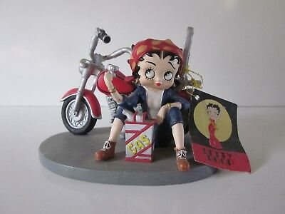 Betty Boop w/Motorcycle & Empty Gas Can Polyresin Figure & Tag 2001