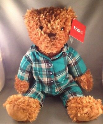 Teddy Bear FAO Schwarz  Flannel Pj's Soft Plush Animal Toy 12""