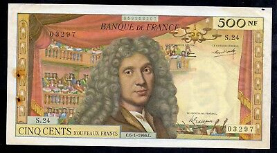 500 Nouveaux Francs Moliere From France 6.1.1966 Rare Banknote