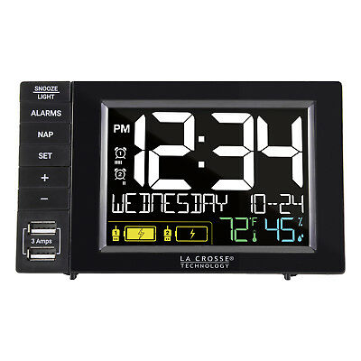 317-1909 La Crosse Technology Dual Alarm Clock with 2 USB Charging Ports - Black