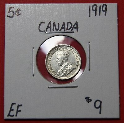1919 Canada Silver Five 5 Cent Coin 6006 - $9 EF