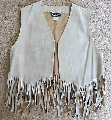 Vintage 1970's Fringed Suedette Waistcoat Light Size L Approx 12-14 Thats Me Usa
