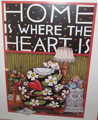 Mary Engelbreit Home is Where the Heart Is Poster 1984 Unframed 12 x 17
