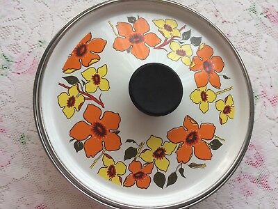 Vintage Retro Floral Orange Yellow 1970s Enamel 24 cm Judge Frying Pan Camper
