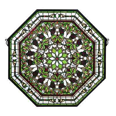 Meyda Tiffany Medium Leafy Green/Clear Beveled Front Hall Floral Stained Glass