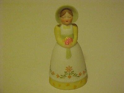 Vintage Porcelain Bell 1985 Avon Girl in Bonnet & White Flowered Gown