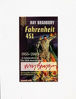 Ray Bradbury signed Fahrenheit 451 book plate for 50th anniversary