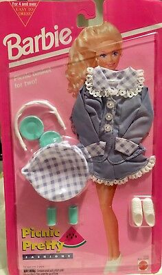 Barbie Doll Outfit - NEW 1994 Picnic Pretty Purple Gingham Fashion Playset