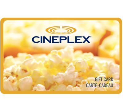 Cineplex Gift Card Gift Card $25, $50, or $100 - Fast email delivery