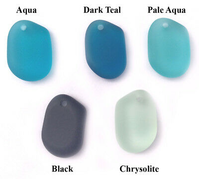 24x16mm Amoeba Free Form Sea Glass Frosted Pendant • Q6 • You Pick Color