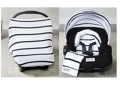WHOLE CABOODLE ~ BLACK STRIPES ~ by CarSeat Canopy 5pc JERSEY STRETCH