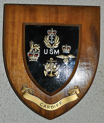 United Services Mess Cardiff plaque shield crest Army Navy Air Force