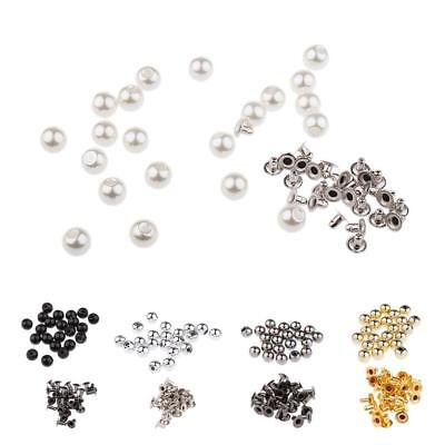20 Set Pearl Rivets Studs 8mm for DIY Leather Bag Shoes Clothes Decoration Craft