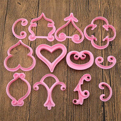 12pcs Rose Heart Mould Cake Decoration Pastry Mold Baking Tool Cutting Icing DIY
