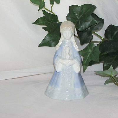 Porcelain Dinner Bell Girl Blue Gown Braids Decorative Gift Not Signed Figurine