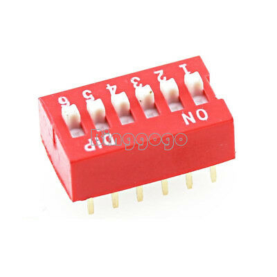 5Stks Slide Type Switch Module 2.54mm 6-Bit 6 Position Way DIP Red Pitch NEW
