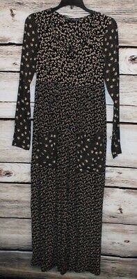 Vintage  BETSEY JOHNSON Black Floral One piece Boho Palazzo Jumpsuit Size Small