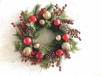 61cm Red and Gold Traditional Christmas Wreath with Pine Cone